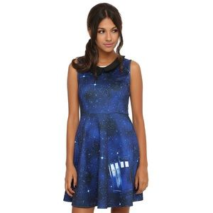 Dr Who Medium Galaxy Tardis Dress A line
